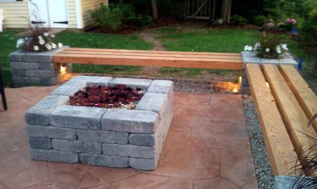 Hull patio pergola propane fire pit custom benches pillar planters lighting modern Fire pit benches