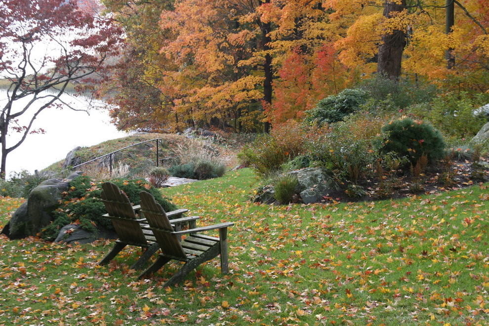 This is an example of a traditional rock backyard landscaping in New York for fall.