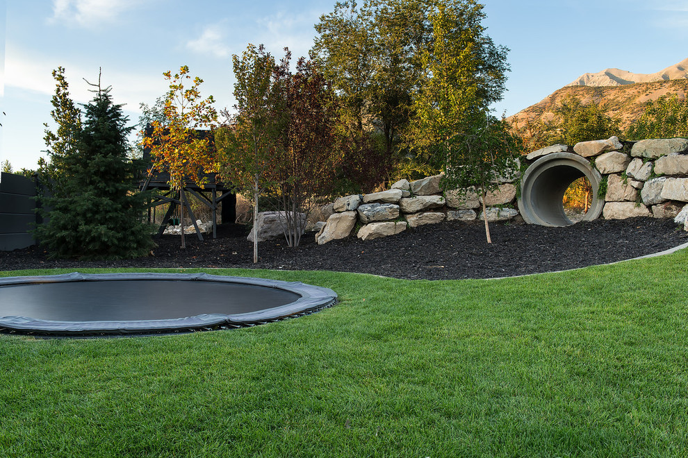 Inspiration for a contemporary backyard landscaping in Salt Lake City.