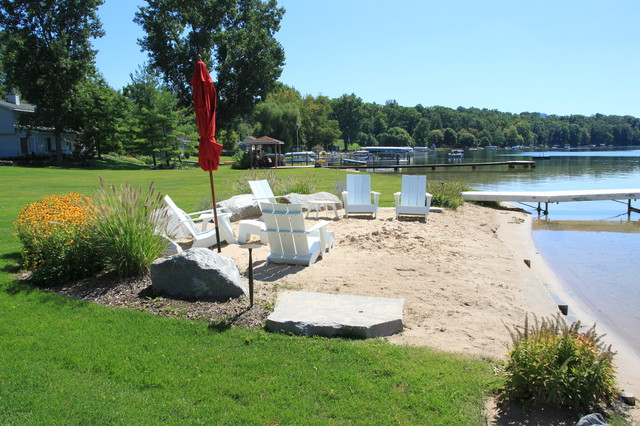 Inland lake house beach style landscape grand rapids for Beach landscape design