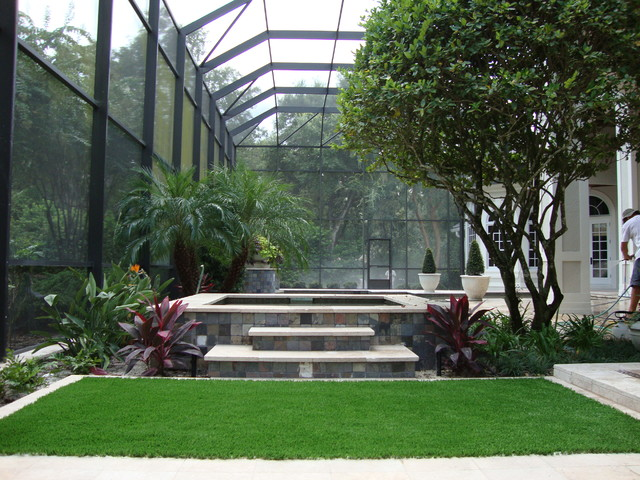 Inside Pool Cages Contemporary Landscape Tampa By