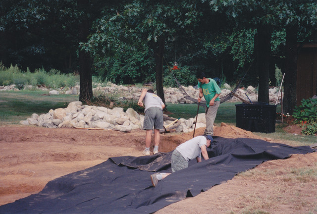 Installing Pond Liner And Underlayment Traditional