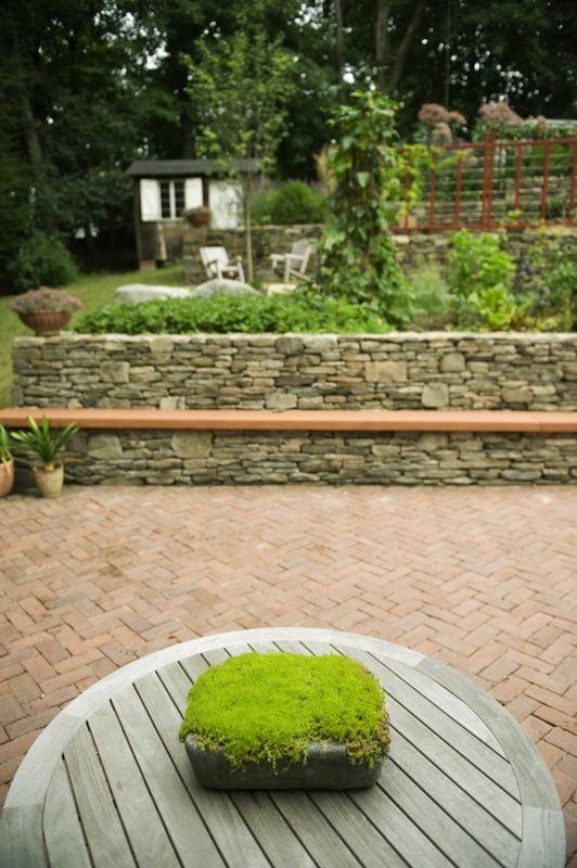 Inspiration for a mid-sized contemporary full sun hillside brick vegetable garden landscape in Boston for summer.