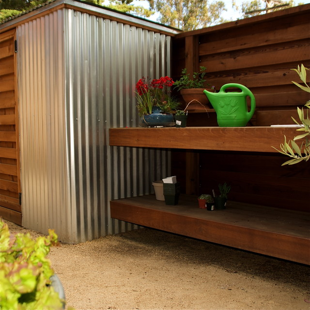 Ipe garden work table and shelf next to storage shed