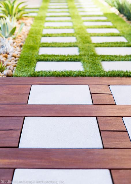 Ipe Wood Deck Stepstone Pavers Contemporary
