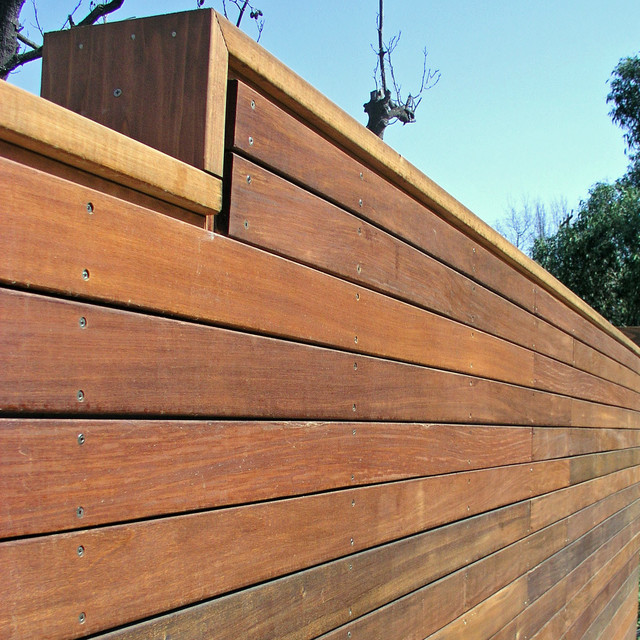 Ipe Wood Decking and Wall modern landscape
