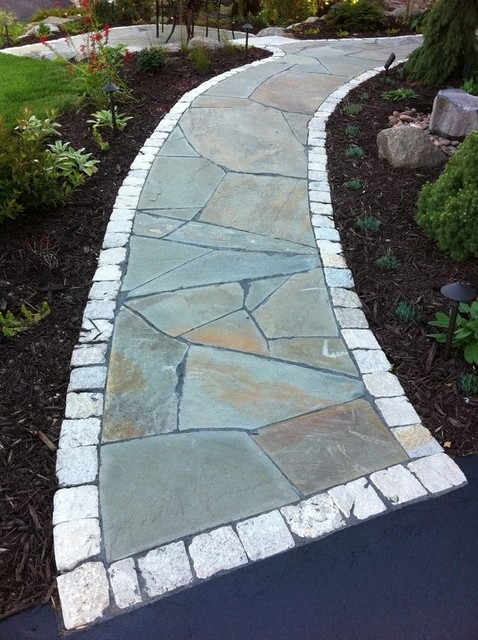 Irregular Flagstone Front Walkway And Small Sitting Patio