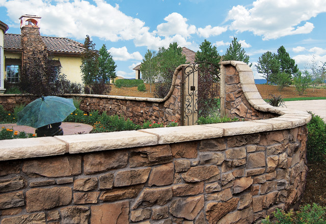 Italian villa manufactured stone veneer courtyard for Courtyard stone and landscape