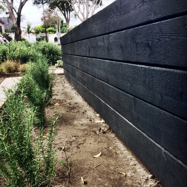 Japanese Charred Wood Garden Wall Contemporary