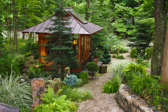 Inspiration For A Mid Sized Asian Partial Sun Backyard Gravel Landscaping In Cleveland