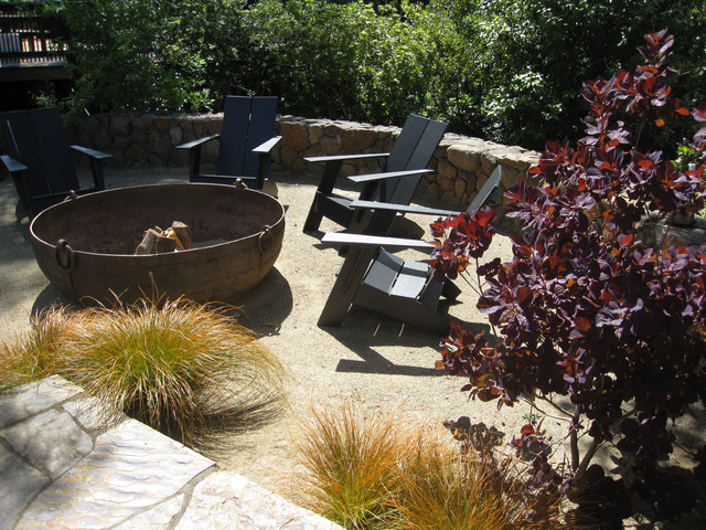 Kentfield, CA,  Low Maintenance Garden with Fire Pit - Lawn replaced with DG contemporary-landscape