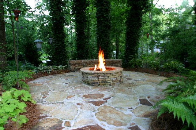 Khan Koi Pond And Fire Pit Traditional Landscape