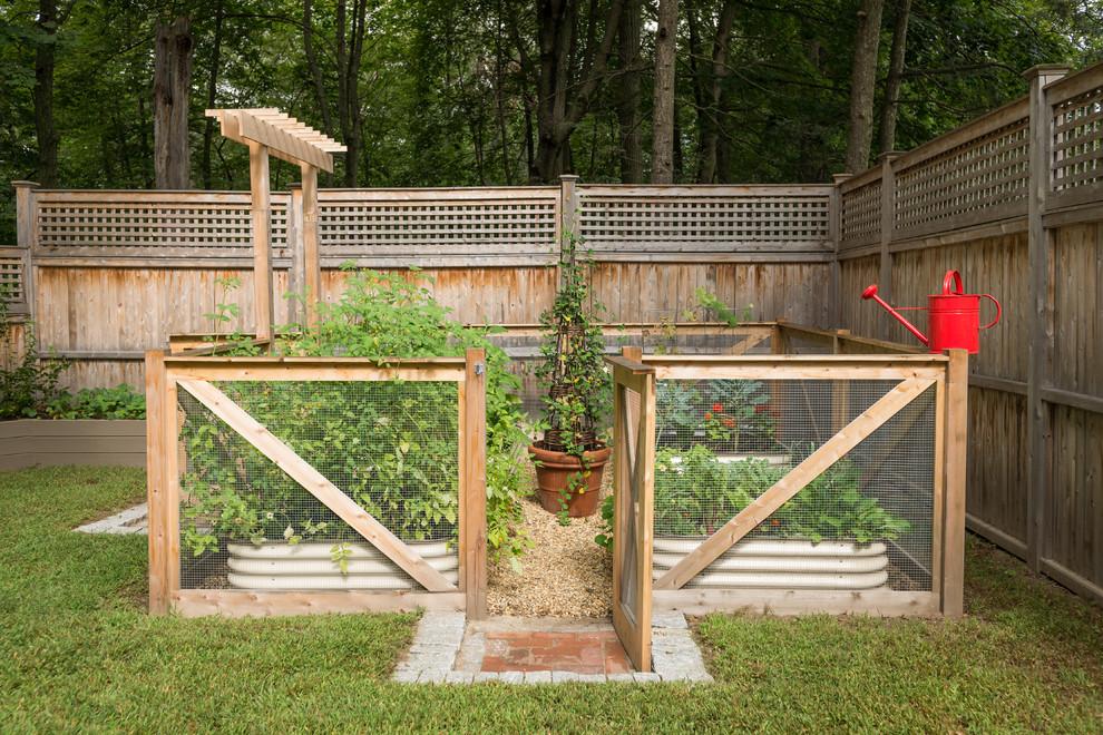 Design ideas for a farmhouse backyard vegetable garden landscape in Boston.
