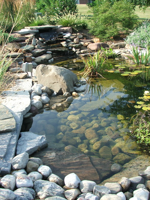 Koi pond and waterfall small scale design traditional for Small koi pond