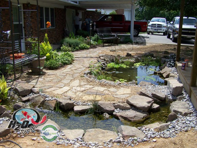 Koi pond backyard pond small pond ideas for your for Landscaping rock louisville ky