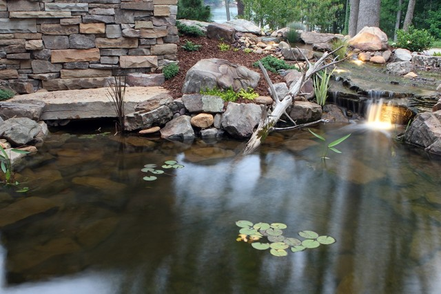 Lake wylie nc backyard fish pond installation modern for Fish pond installation
