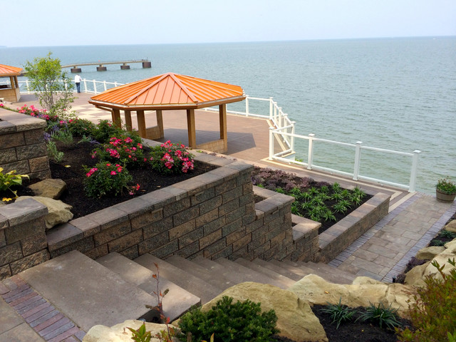 Lakefront resort inspired pool patio and suspended deck for Lakefront landscaping photos