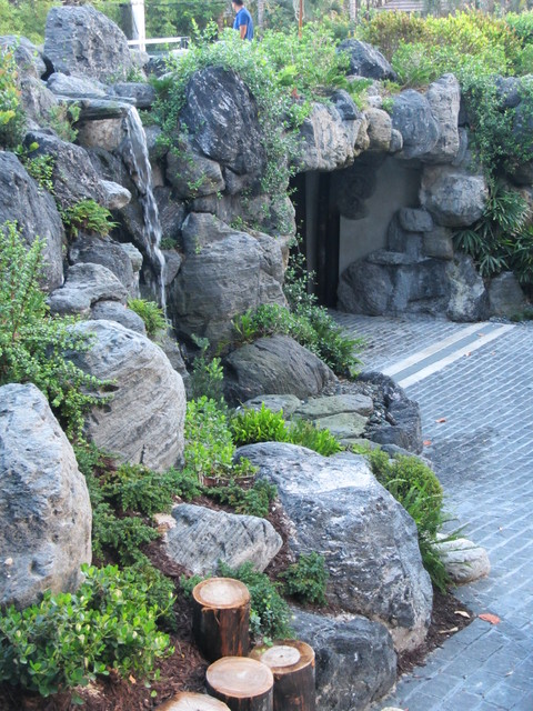Landscape Design Rock Waterfall In South Florida Asian