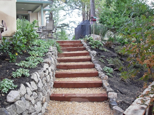 Landscaping Wall Steps : Landscape steps and pathway retaining wall traditional