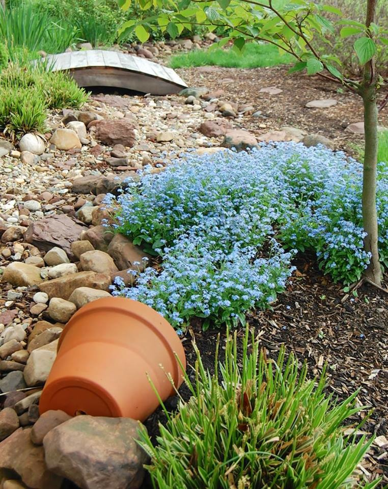 This is an example of a small rustic partial sun backyard mulch landscaping in Austin.