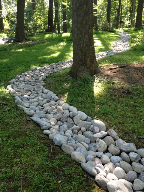 Landscaping And River Rock Drainage Swale Traditional