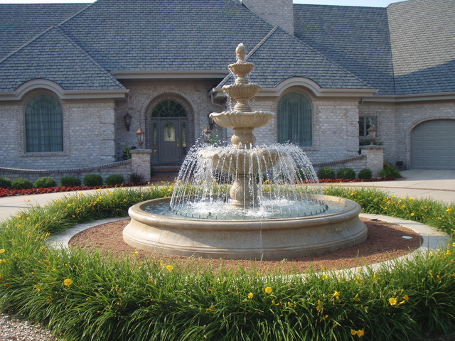 Large estate fountain mediterranean landscape for Large outdoor fountains