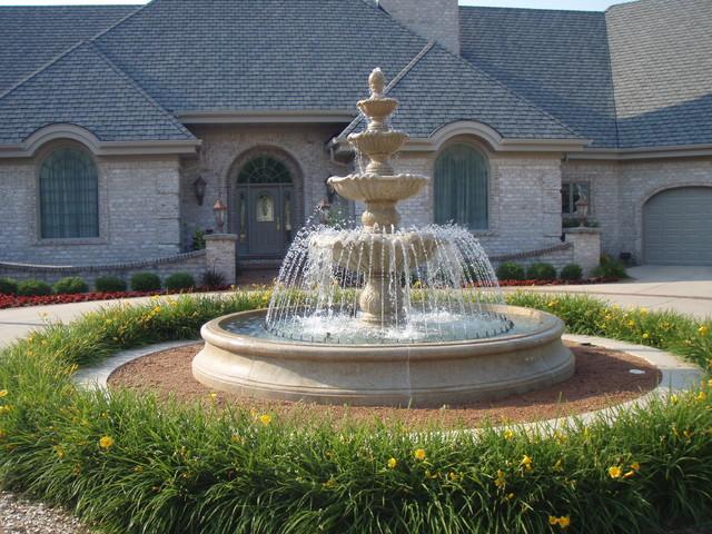 Large Estate Fountain Mediterranean Landscape