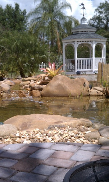 Large Koi Pond with TN River Rounds traditional-landscape