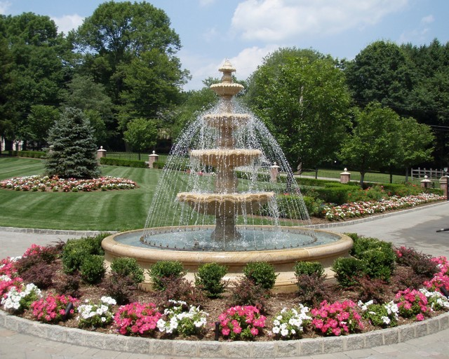 Large Tiered Estate Fountain - Traditional - Landscape - new york - by Carved Stone Creations, Inc.