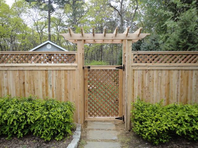 lattice top cedar privacy fence installed  east hampton