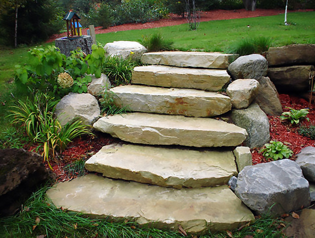 Natural Stone Steps : Ledge sandstone steps natural stone traditional