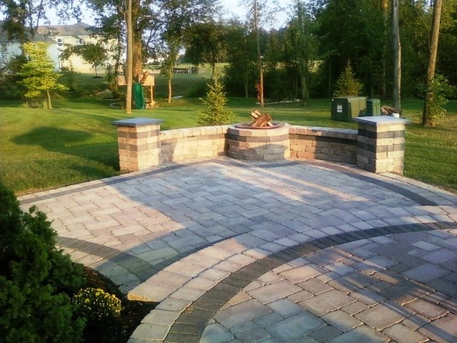 Lewis Center two tier patio and fire pit wall on Tiered Patio Ideas id=68619