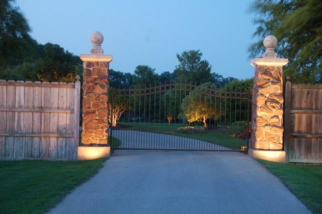 Lighting Gate Entrance To Private Estate Traditional Landscape