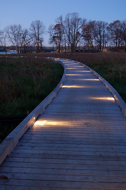 Lighting on boardwalk to private marina traditional landscape