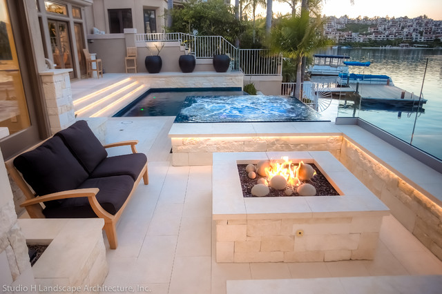 Limestone Built In Benches And Fire Pit Contemporary Landscape