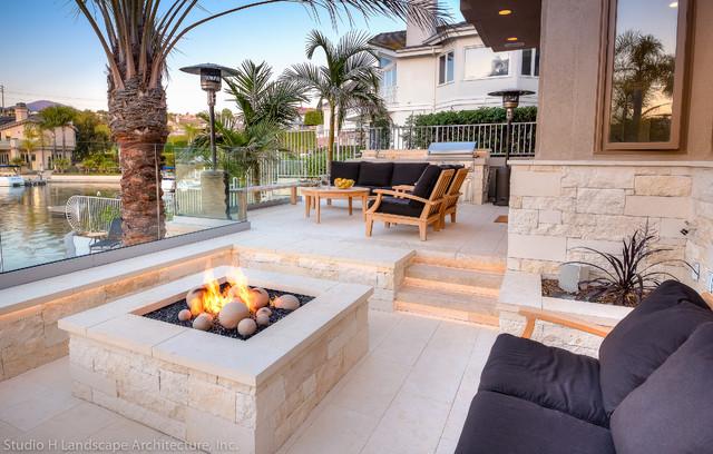 Studio H Landscape Architecture Architects Designers Limestone Fire Pit Contemporary Garden