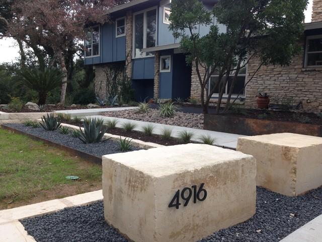 Landscaping With Limestone Blocks : Limestone quarry seat blocks with address midcentury