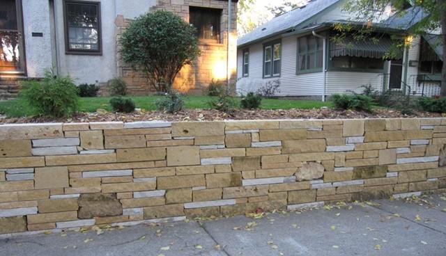 Limestone Retaining Wall Midcentury Landscape