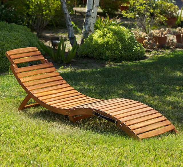 Lisbon Outdoor Wood Chaise Lounge Contemporary