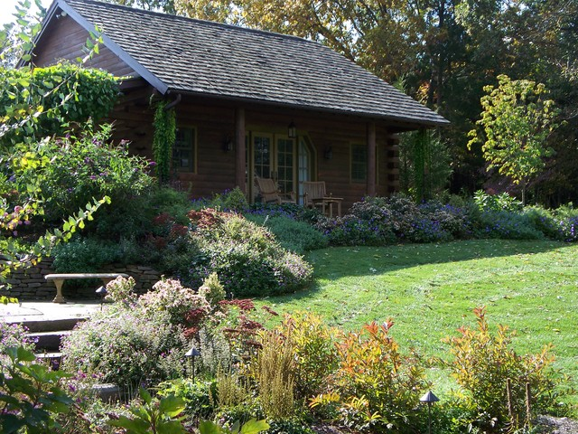 log cabin retreat traditional landscape philadelphia