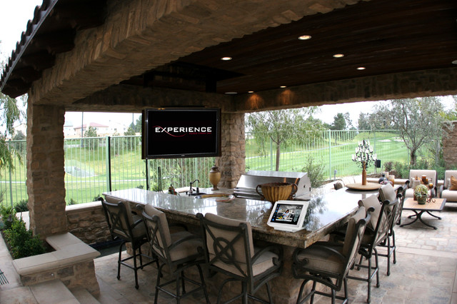 Loggia ceiling drop down tv traditional patio orange for Garden loggia designs