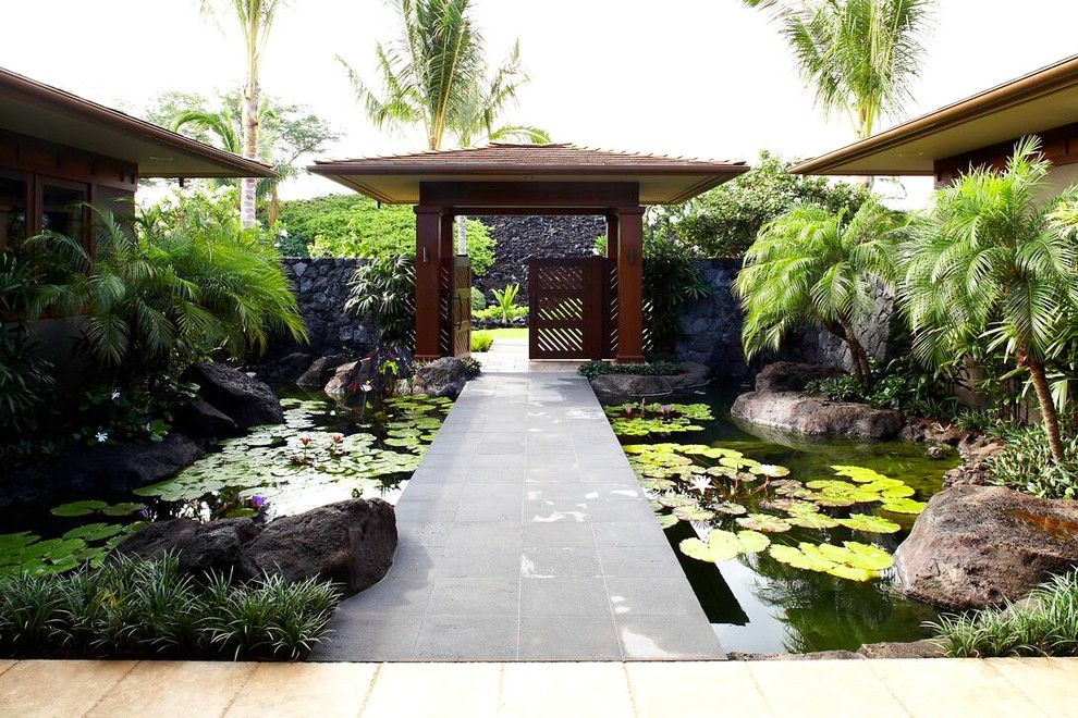 Design ideas for a tropical water fountain landscape in Hawaii.