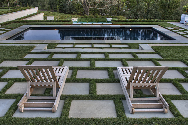 Lounging area by the pool contemporary landscape for Grid landscape design