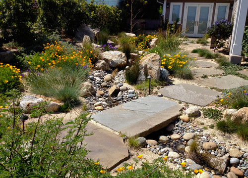 Landscape swale guide landscaping drainage swales for Installing river rock landscaping