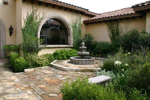 Lush Courtyard Fountain