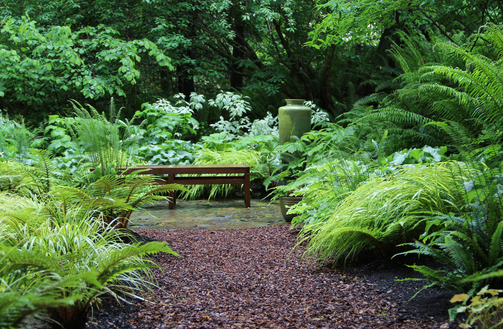 Design ideas for a contemporary shade backyard gravel landscaping in Seattle.