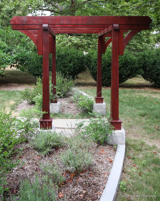 mahogany arbor on granite asian landscape boston. Black Bedroom Furniture Sets. Home Design Ideas
