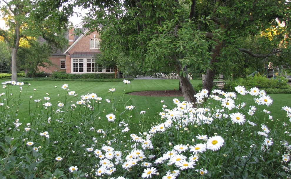 Design ideas for a large traditional partial sun backyard landscaping in Chicago for summer.