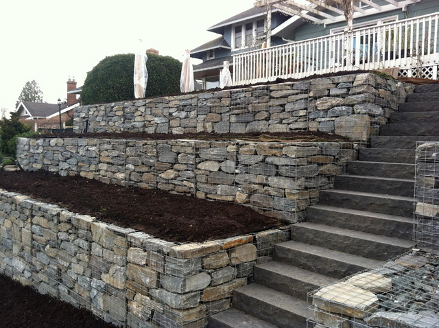 Martha S Gabion Dry Stack Retaining Wall Contemporary Landscape