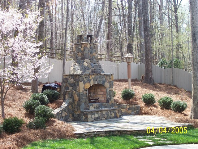 Matthews Outdoor Fireplace traditional-landscape